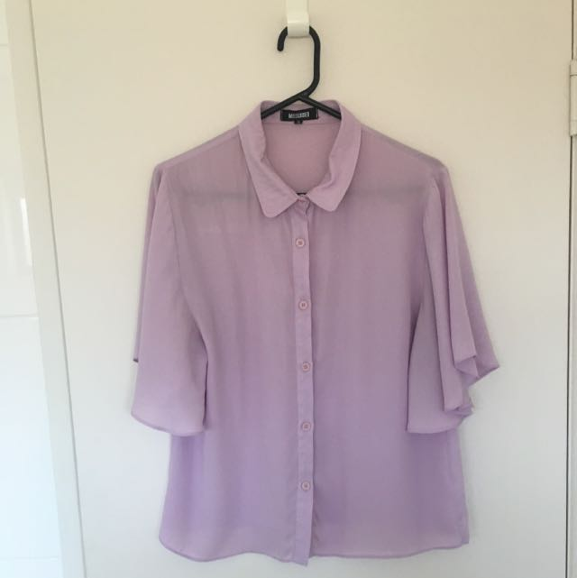 Misguided Pastel Purple Blouse Size 14