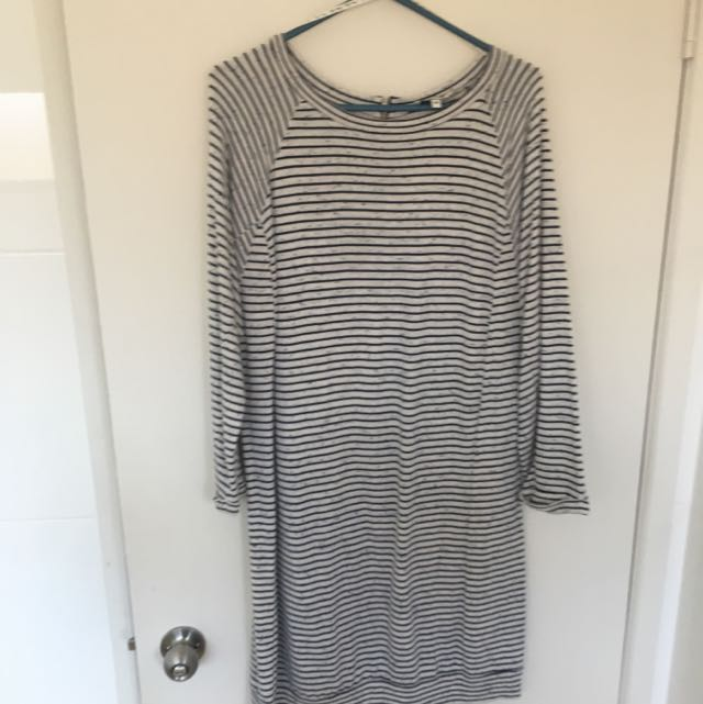 Miss Shop Navy And White Striped Dress Size 16