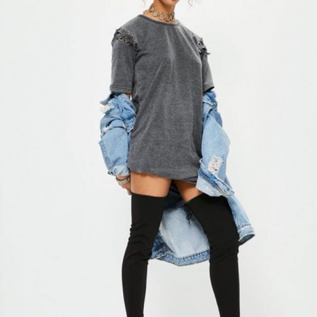 Missguided Grey Eyelet Lace Up Sleeve Wash T-Shirt Dress