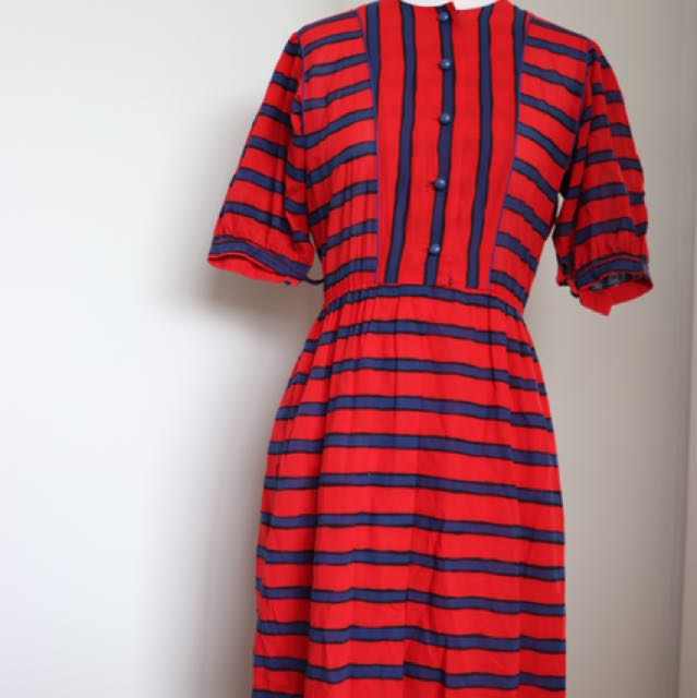 Navy and red stripe vintage dress