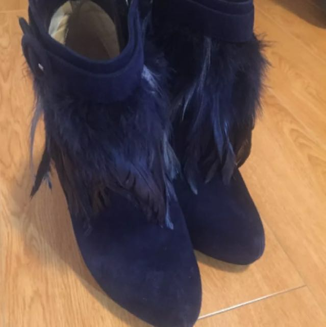 Nicholas Kickwood Navy Feather-lined Ladies Heel Ankle boots
