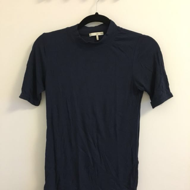 Oak + Fort navy blue ribbed mock neck t-shirt - Small