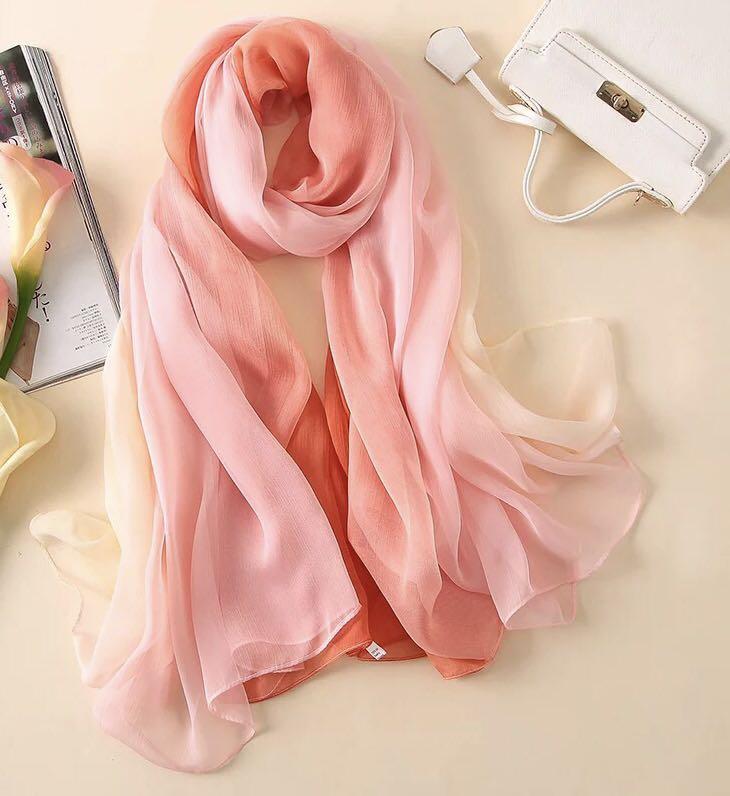 Orange 100%silk scarf