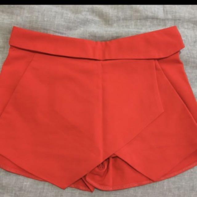 Orange Zara skort XS