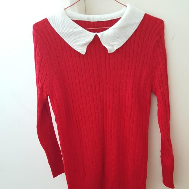 Peter pan collar red knit