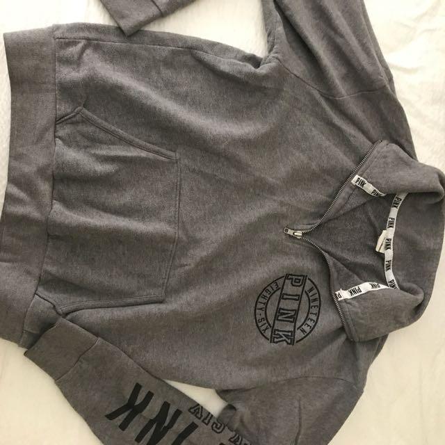 Pink Grey Zip Sweater