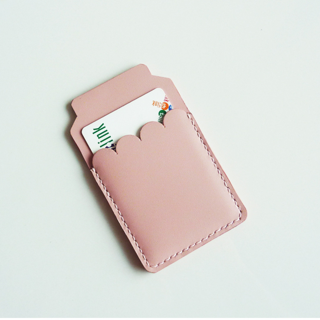 Pink leather card holder / leather business card case / leather card ...