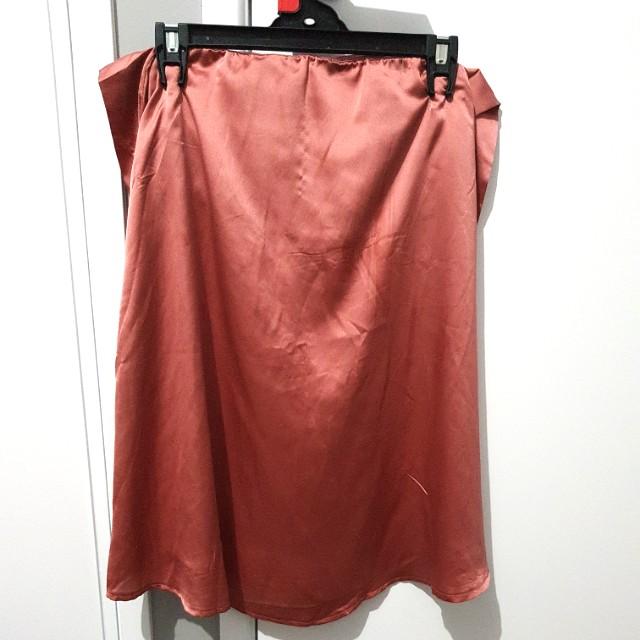 Pink silk skirt/top