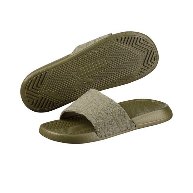 PUMA 墨綠 拖鞋 字體浮文 軟墊