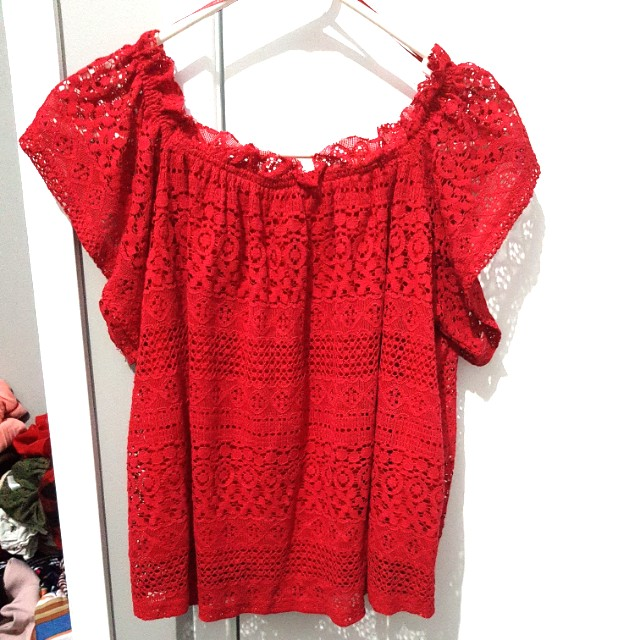 Red lace off the shoulder top