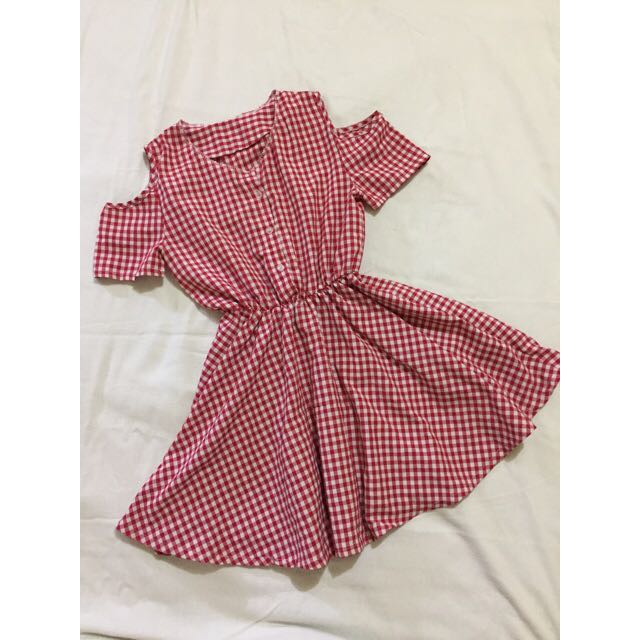RED MINI GINGHAM KOREAN DRESS
