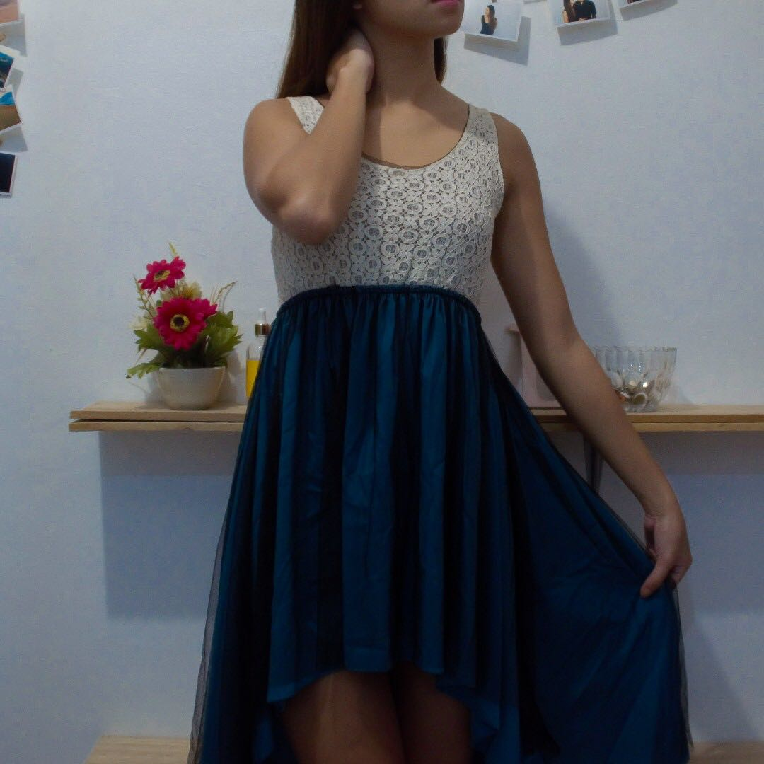 Royal Blue Semi-Maxi Dress with Black Sheer Lace