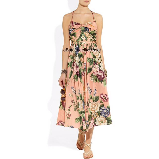 (SIZE 0 or SIZE 1) Zimmermann Pale Pink Floral Tie Dress