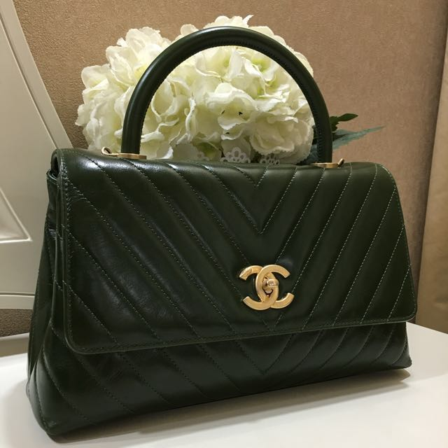 83f18f837ff4 SOLD) 💚 Brand New Unworn Chanel Coco Handle Chevron Small (not mini ...