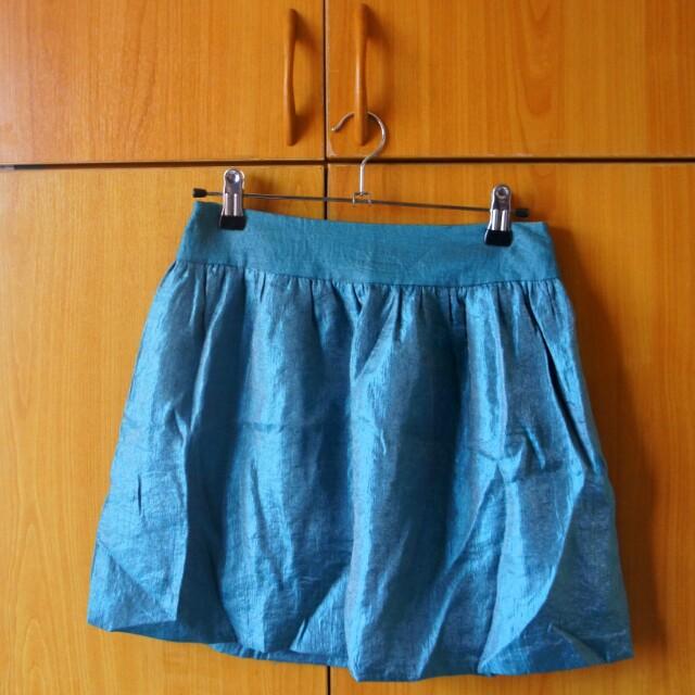States Silky Blue Green Skirt