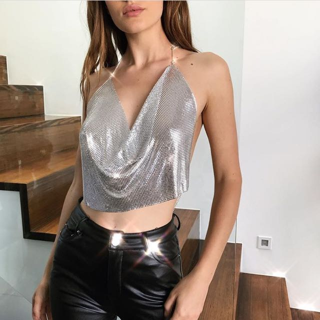 Style Addict Chainmail Silver Festival Halter Xs