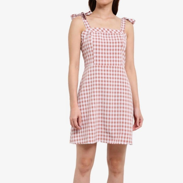 Tie shoulder fit and flare dress