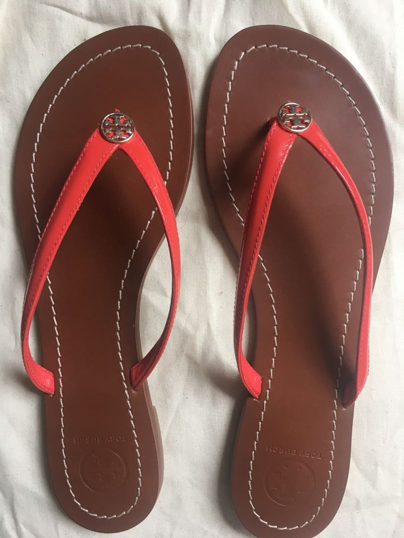 Tory Burch red terra flip flop sandals size 9