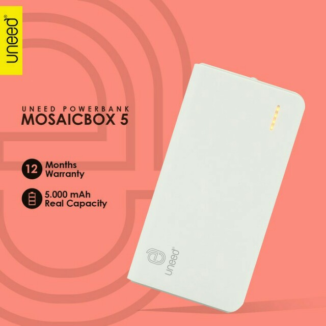 Uneed Mozaic Powerbank 5000mAh Polymer Battery - White