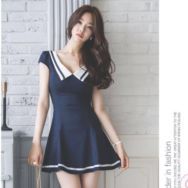 氣質純色高腰顯瘦修身V領A字連衣裙#幫你省運費