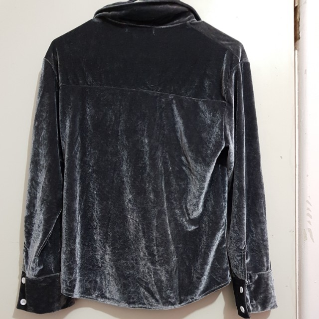 Velvet soft Grey gradient top