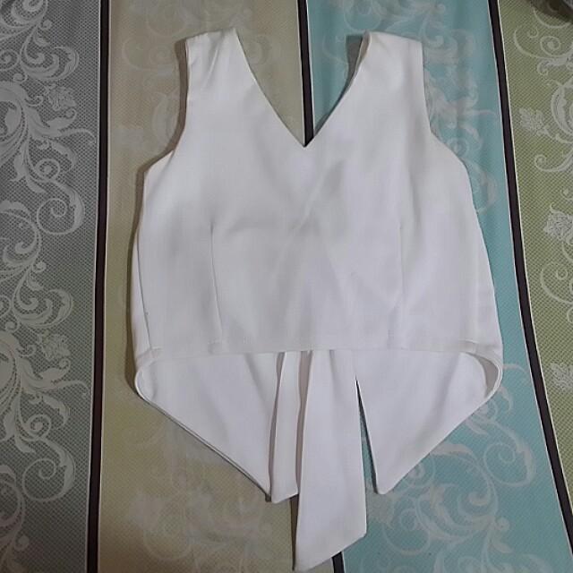 White Ribbon Crop Top