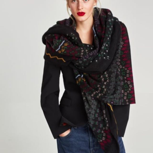 Zara 花卉印花柔軟圍巾 大圍巾 長圍巾 披肩 圍脖 (200*100cm)~保暖有型
