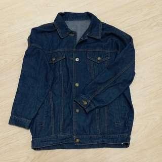 牛仔褸 牛仔外套 牛仔嬲 denim jacket 深藍色 oversize