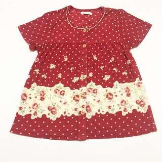 blouse korea red