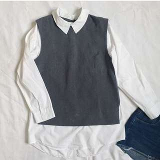 Gray / collared long sleeves ❤️