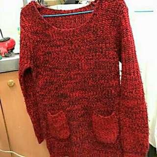 二手 紅色毛衣
