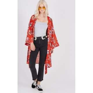 Supre Red Floral Kimono outerwear Size Xs/S