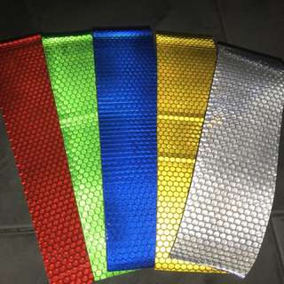 5 colors highly Reflective safety adhesive sticker for car motorbike lorry van etc helmet box 20cm x 5cm ( 5 pcs/set )