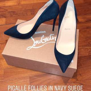 Christian Louboutin Pigalle Follies in Navy Suede