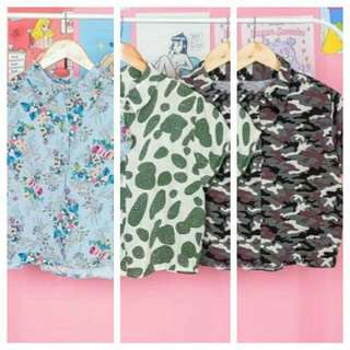 Floral/spots/camouflage polo stlyle