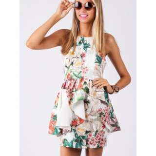 Floral Backless Playsuit Size 8