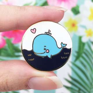 Whale in a Gold Enamel Pin - Cute Enamel Pin / Hard Enamel Pin / Lapel Pin / LUNARBAY PINS