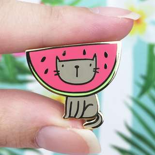 Kitty Watermelon Gold Enamel Pin - Cute Enamel Pin for Jackets and Backpacks / Hard Enamel Pin / Lapel Pin