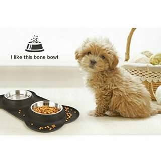 InnoGear Dog Bowls with Non-Spill Silicone Tray Double Stainless Steel Bowls with Bone Shape Non-Slip Mat Collapsible Removable Dog Cat Food Water Bowl,for Small Dogs