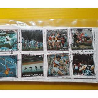 GAIRSAY , SCOTLAND - 1984 - Block of 8  - CTO Stamp - LOS ANGELES OLYMPICS , SPORTS