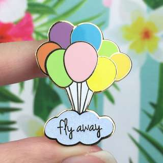 Fly Away Gold Glitter Enamel Pin - Cute Enamel Pin / Hard Enamel Pin / Lapel Pin / LUNARBAY PINS