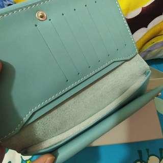 頭層牛皮湖水綠色 多格 長銀包 銀包 生日 禮物 型格 情人 gift birthday wallet purse