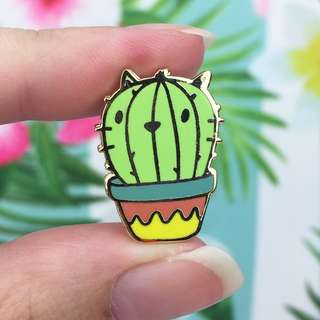 Cactus Gold Enamel Pin - Cute Enamel Pin for Jackets and Backpacks / Hard Enamel Pin / Lapel Pin