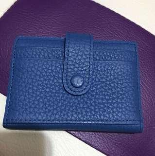 真皮藍色card holder