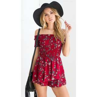 Po: smoked burgundy floral romper
