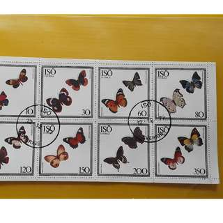 SVERIGE / SWEDEN - 1978 - Block of 8  - CTO Stamp - BUTTERFLY