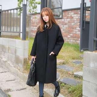 Women's winter long trench, black coat