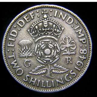 1948年大英帝國三國花2先令(Shilling)鎳幣(英皇佐治六世像)