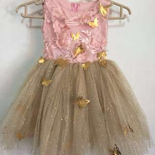 Sugarkissed Birthday Party Pink-Gold Tutu Gown Dress with Headdress 1-2yo