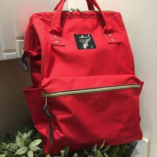 [100% AUTHENTIC] Regular size Sharp Red Colour Japan Anello Branded Backpack, polyester material
